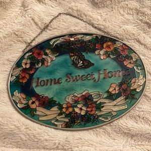 Home sweet home colored painted glass hanging sign